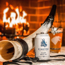 Einstok White Ale can & glass image