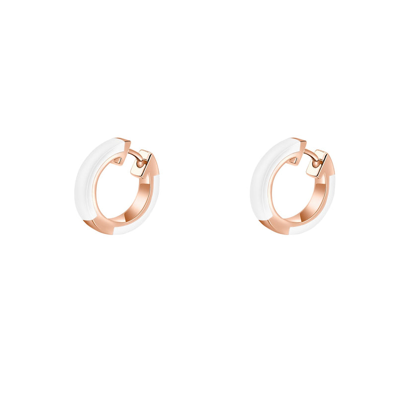 Hestia Zoe Huggie Earrings White