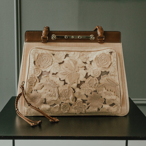 Valentino Demetra Straw-Lace Bag