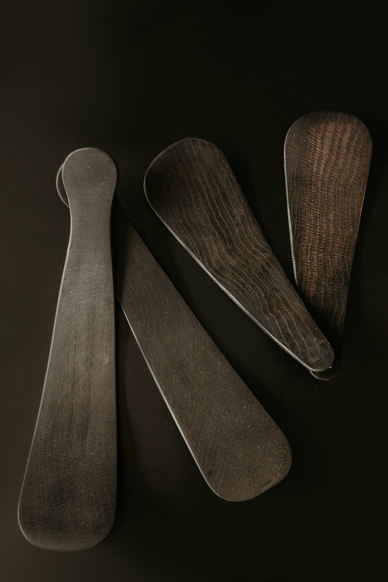 Ebonized Black Wood Salad Servers