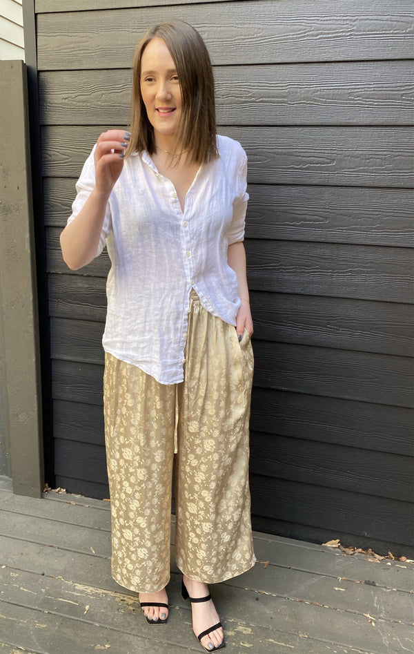 Ms MIN Jacquard Pull On Wide Pant