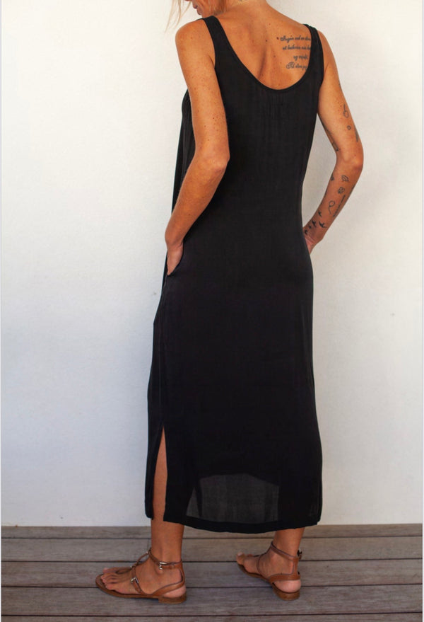 Private Silk Tank Dress Side Slits