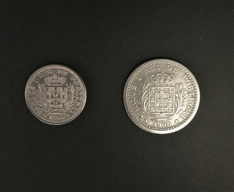 Set of 2 coins of 50 Reis and 100 Reis D. Carlos I - Portugal Monarchy - 1900 - King D. Carlos I - Kingdom of Portugal (1836 a 1910)