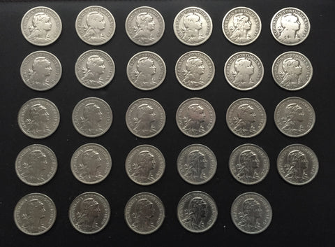 Complete set of 29 old coins of 50 Centavos - Portugal - 1927 to 1968 - Time: República Portuguesa from 1910 Composition: nickel silver (alpaca)