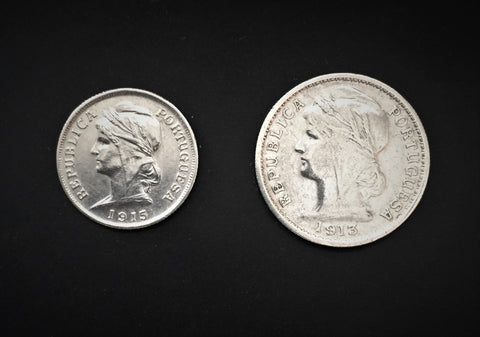 Set of 3 silver old coins of 10 centavos, 20 centavos and 50 centavos - Portugal - 1913 e 1915