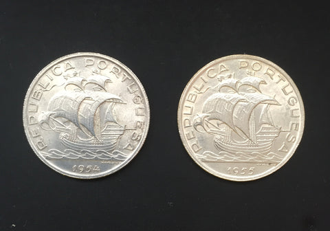 Complete set of 2 silver old coins of 10$00 - Portugal - 1954 and 1955  Facial value: 10 escudos Year: 1954 and 1955 Time: República Portuguesa from 1910