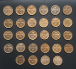 Complete set of 28 bronze old coins of 10 centavos - Portugal - 1942 to 1969  Facial value: 10 centavos Year: 1942 to 1969 Time: República Portuguesa from 1910