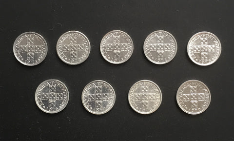 Complete set of 9 aluminium old coins of 10 centavos - Portugal - 1971 to 1979  Facial value: 10 Centavos Year: 1971 to 1979 Time: República Portuguesa from 1910