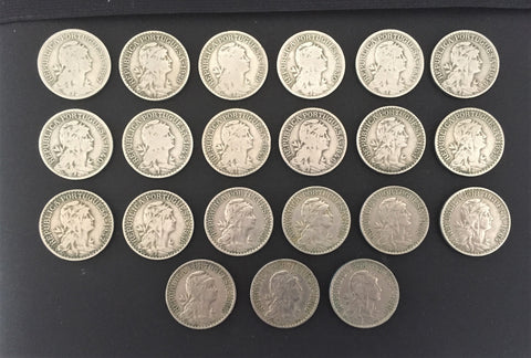 Complete set of 21 old coins of 1$00 - Portugal - 1927 to 1968 - Time: República Portuguesa from 1910 Composition: nickel silver (alpaca)