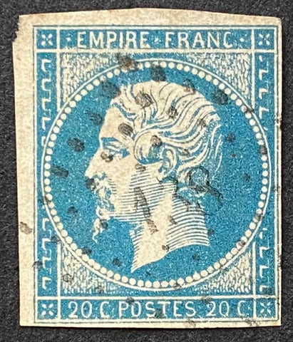 """Napoléon III - Second Empire"" - 20 c blue used old stamp - Type I - France - 1853-60  Type: typography Yvert & Tellier: 14A - type I"
