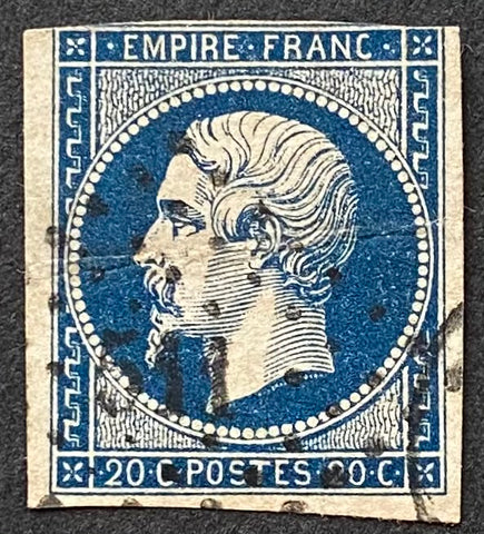 """Napoléon III - Second Empire"" - 20 c dark blue used old stamp - Type I - France - 1853-60  Type: typography Yvert & Tellier: 14Aa - type I"