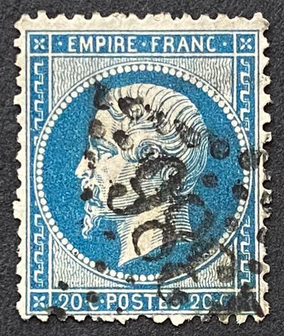 """Napoléon III - Second Empire"" - 20 c blue used old stamp - France - 1862  Type: typography Yvert & Tellier: 22"