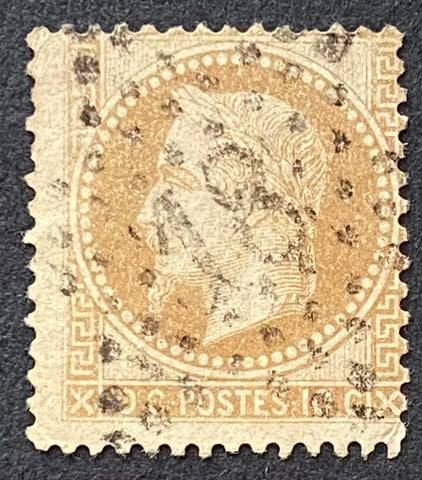 """Napoléon III lauré - Second Empire"" - Napoleon III laureate - Second Empire - Type I - 10 c bistre used old stamp - France - 1863-70  Type: typography Yvert & Tellier: 28A - type I"