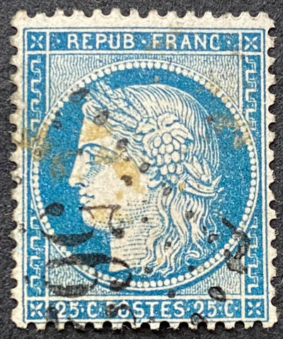 """Cérès III ème République"" - Ceres III rd. Republic - 25 c blue used old stamp - type I - France - 1871-75  Type: typography Yvert & Tellier: 60A - type I"