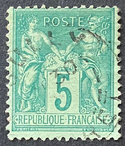 """Type Sage"" - Type Sage 5 c green used old stamp - Type II - France - 1876-78  Type: typography Yvert & Tellier: 75 - type II"