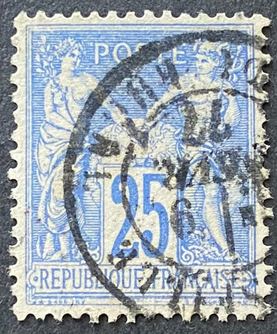 """Type Sage"" - Type Sage 25 c blue used old stamp - Type II - France - 1876-78  Type: typography Yvert & Tellier: 78 - type II"