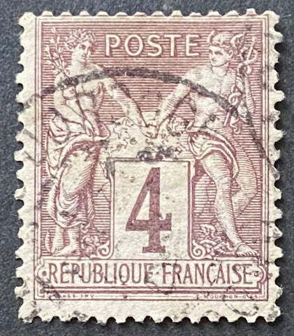 """Type Sage"" - Type Sage 4 c lilac-brown used old stamp - Type II - France - 1877-80  Type: typography Yvert & Tellier: 88 - type II"