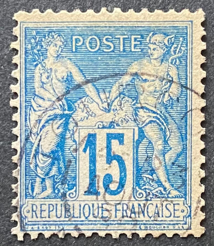 """Type Sage"" - Type Sage 15 c blue used old stamp - Type II - France - 1877-80  Type: typography Yvert & Tellier: 90 - type II"