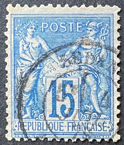 """Type Sage"" - Type Sage 15 c blue on blue used old stamp - Type II - France - 1877-80  Type: typography Yvert & Tellier: 90a - type II"
