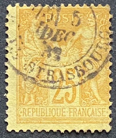 """Type Sage"" - Type Sage 25 c bistre on yellow used old stamp - Type II - France - 1877-80  Type: typography Yvert & Tellier: 92 - type II"