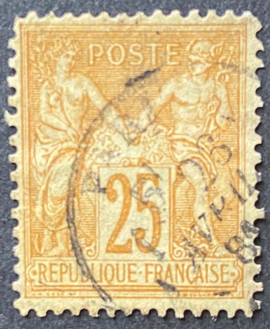 """Type Sage"" - Type Sage 25 c bistre on pale yellow used old stamp - Type II - France - 1877-80  Type: typography Yvert & Tellier: 92 - type II"