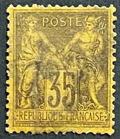 """Type Sage"" - Type Sage 35 c purple-black on yellow used old stamp - Type II - France - 1877-80  Type: typography Yvert & Tellier: 93 - type II"