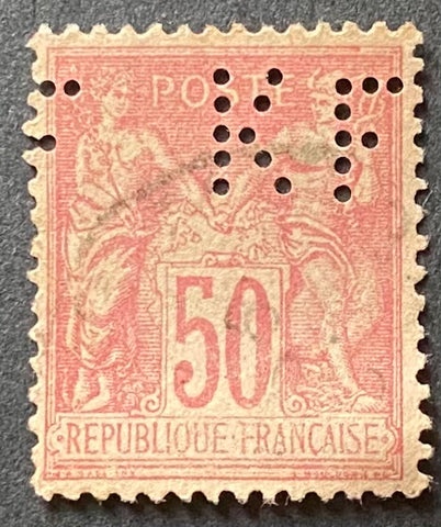 """Type Sage"" - Type Sage 50 c light pink used perforated old stamp - Type II - France - 1884-90  Type: typography Yvert & Tellier: 98a - type II - perforated ""FKF"" (perforé)"