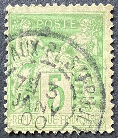 """Type Sage"" - 5 c yellow-green used old stamp - Type III - France - 1898-1900  Type: typography Yvert & Tellier: 102 - type III"