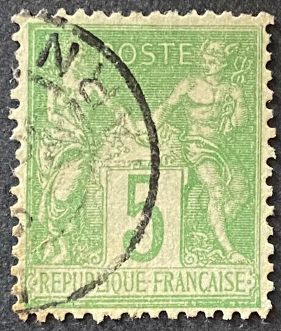 """Type Sage"" - 5 c yellow-green used old stamp - Type II - France - 1898  Type: typography Yvert & Tellier: 106 - type II"