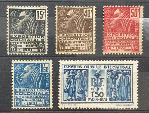 """Exposition coloniale internationale de Paris"" - International colonial exhibition of Paris - complete set of 5 mint hinged old stamps - France - 1930-31  Type: typography Yvert & Tellier: 270 - 271 - 272 - 273 - 274"