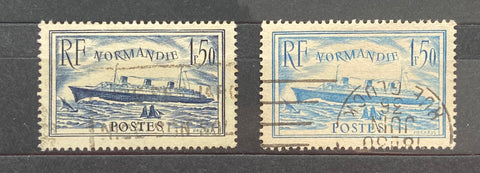"""Paquebot Normandie"" - Normandie cruise ship - complete set of 2 used old stamps - France - 1934-36  Type: taille-douce Yvert & Tellier: 299 / 300"