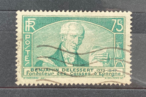 """Congrès international des Caisses d'épargne à Paris et centenaire de leur création"" - International Congress of the Saving Banks in Paris and 100 years anniversary of their creation - Benjamin Delessert - 75 centimes used old stamp - France - 1935  Type: taille-douce Yvert & Tellier: 303"