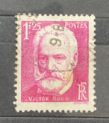 """Cinquantenaire de la mort de Victor Hugo"" - 50 years anniversary of Victor Hugo's death - 1 franc 25 centimes used old stamp - France - 1935  Type: taille-douce Yvert & Tellier: 304"