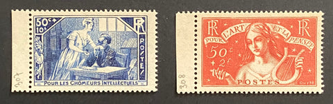 """Au profit des chômeurs intellectuels"" - For the benefit of the unemployed intellectuals - complete set of 2 mint never hinged old stamps - France - 1935  Type: taille-douce Yvert & Tellier: 307-308"