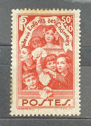 """Au profit des enfants des chômeurs"" - For the benefit of the unemployed's children - 50 centimes + 10 centimes mint hinged old stamp - France - 1936  Type: taille-douce Yvert & Tellier: 312"