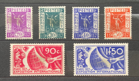"""Propagande pour l'Exposition internationale de Paris"" - Paris international Exhibition propaganda - complete set of 6 mint hinged old stamps - France - 1936  Type: typography Yvert & Tellier: 322-323-324-325-326-327"