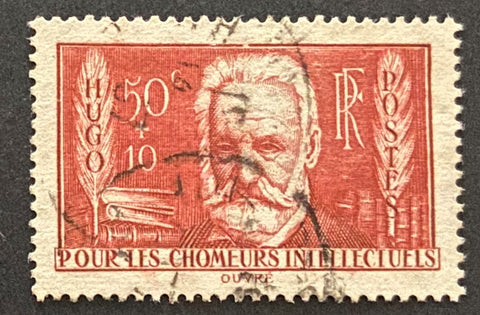 """Au profit des chômeurs intellectuels"" - For the benefit of the unemployed intellectuals - 50c + 10c  used old stamp - France - 1936  Type: taille-douce Yvert & Tellier: 332"