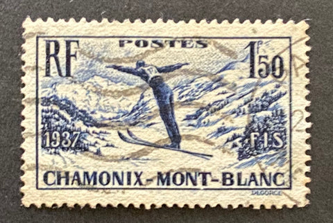 """Championnats internationaux de ski à Chamonix"" - International ski championships in Chamonix - 1 franc 50 centimes used old stamp - France - 1937  Type: taille-douce Yvert & Tellier: 334"