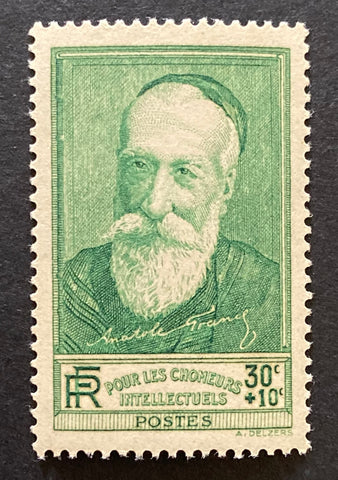 """Au profit des chômeurs intellectuels"" - For the benefit of the unemployed intellectuals - Anatole France - 30 centimes + 10 centimes mint never hinged old stamp - France - 1937  Type: taille-douce Yvert & Tellier: 343"