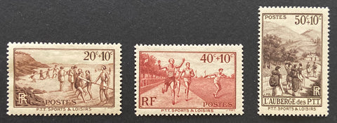 """Au profit des oeuvres sociales et sportives des PTT"" - For the benefit of the social and sports activities of the Postal company - complete set of 3 old stamps mint hinged - France - 1937  Type: taille-douce Yvert & Tellier: 345-346-347"