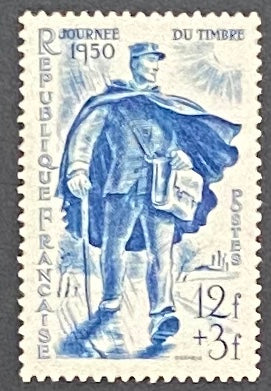 """Journée du Timbre - facteur rural"" - Stamp Day - rural postman - 12f + 3f mint hinged old stamp - France - 1950  Type: taille-douce Yvert & Tellier: 863"