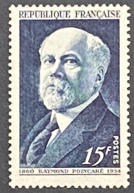 """Raymond Poincaré"" - Raymond Poincaré - 15f mint hinged old stamp - France - 1950  Type: taille-douce Yvert & Tellier: 864"