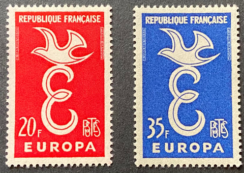 """EUROPA - série complète de 2 timbres"" - EUROPA - complete set of 2 mint never hinged old stamps - France - 1958  Type: taille-douce Yvert & Tellier: 1173 - 1174"
