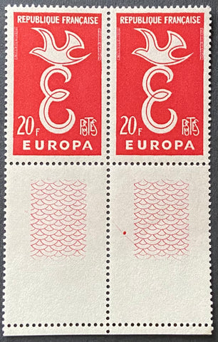 EUROPA - horizontal pair of 20 f. mint never hinged old stamps - France - 1958  Type: taille-douce Yvert & Tellier: 1173 - horizontal pair (paire horizontale)