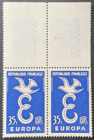 EUROPA - horizontal pair of 35 f. mint never hinged old stamps - France - 1958  Type: taille-douce Yvert & Tellier: 1174 - horizontal pair (paire horizontale)
