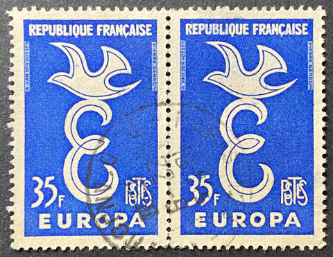 EUROPA - horizontal pair of 35 f. used old stamps - France - 1958  Type: taille-douce Yvert & Tellier: 1174 - horizontal pair (paire horizontale)