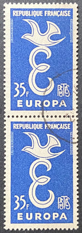 EUROPA - vertical pair of 35 f. used old stamps - France - 1958  Type: taille-douce Yvert & Tellier: 1174 - vertical pair (paire verticale)