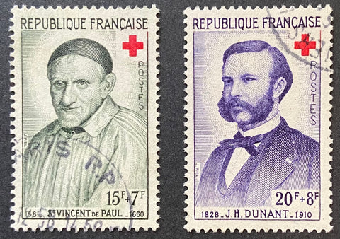 """Au profit de la Croix-Rouge - St. Vincent de Paul - série complète de 2 timbres"" - For the benefit of the Red-Cross - complete set of 2 used old stamps - France - 1958  Type: taille-douce Yvert & Tellier: 1187 - 1188"