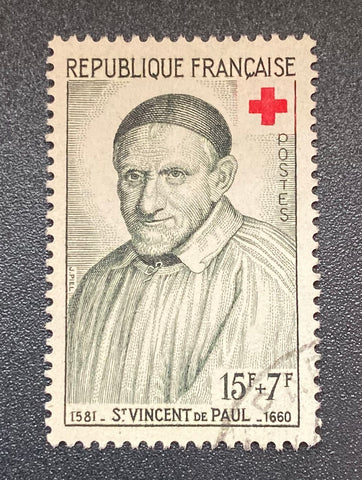 """Au profit de la Croix-Rouge - St. Vincent de Paul"" - For the benefit of the Red-Cross - St. Vincent de Paul - 15f + 7f used old stamp - France - 1958  Type: taille-douce Yvert & Tellier: 1187"