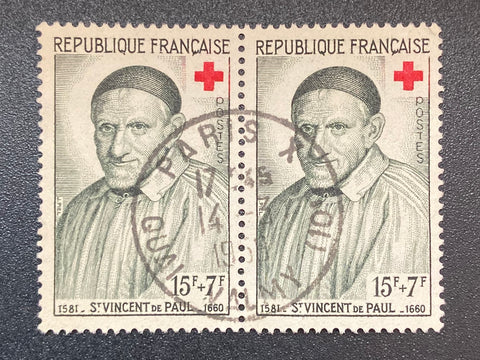 """Au profit de la Croix-Rouge - St. Vincent de Paul"" - For the benefit of the Red-Cross - St. Vincent de Paul - horizontal pair of 15f + 7f used old stamps - France - 1958  Type: taille-douce Yvert & Tellier: 1187"